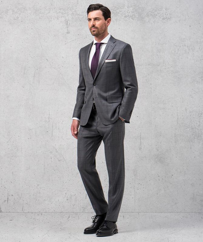 Grauer, karierter Double-Stretch-Anzug