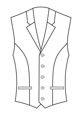 1-Reiher 5-Knopf, mit Paspeltaschen und Kragen