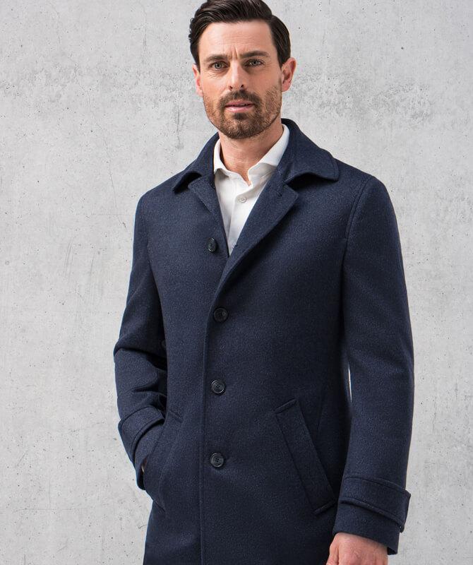 Blauer, sportiver Mantel aus reinem Kaschmir
