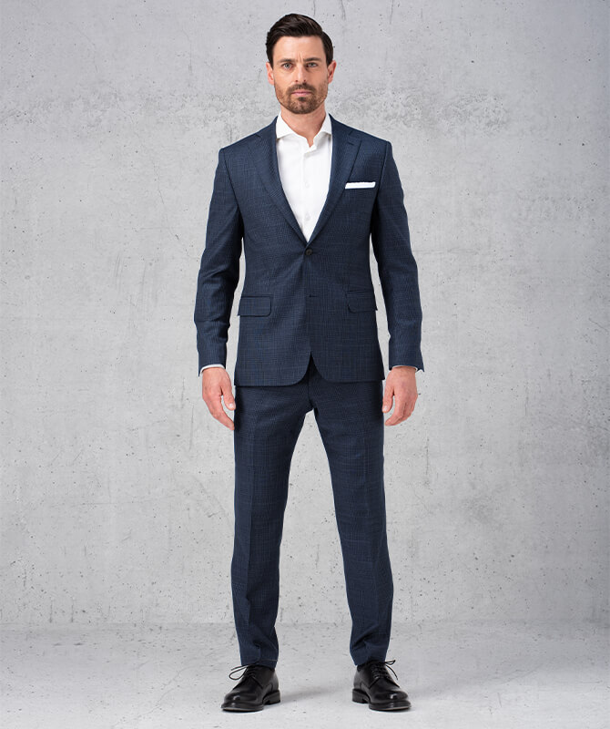Blau-Grau karierter Super 120-Anzug