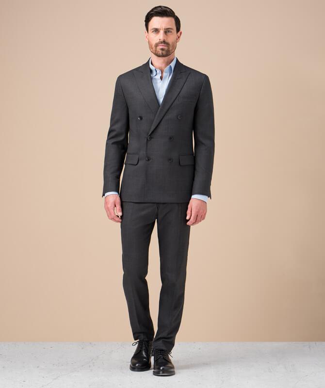 Anthrazitfarbener, karierter Komfort-Anzug aus JEBRIC