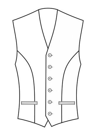 1-Reiher 6-Knopf, mit Paspeltaschen
