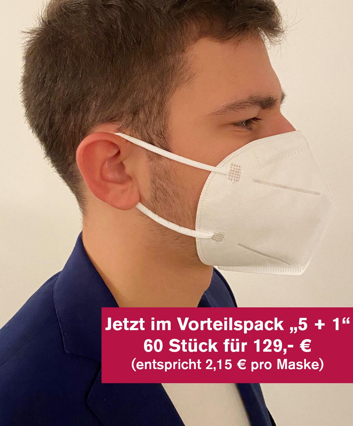 """Set 2: FFP2-Maske """"Ohrgummi"""" 60 Stück (10 Pack á 6 Masken)"""