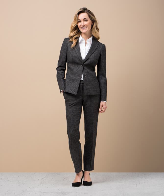 Moderner, anthrazitfarbener Jacquard-Anzug