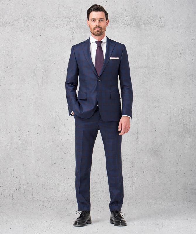 Dunkelblauer, karierter Double Stretch-Anzug
