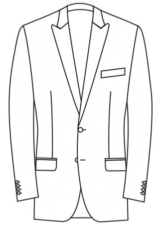 1-Reiher 2-Knopf, Spitzfasson