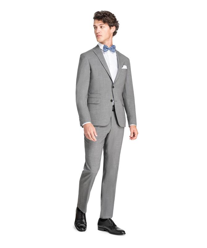 Betongrauer Anzug mit subtilem Karomuster