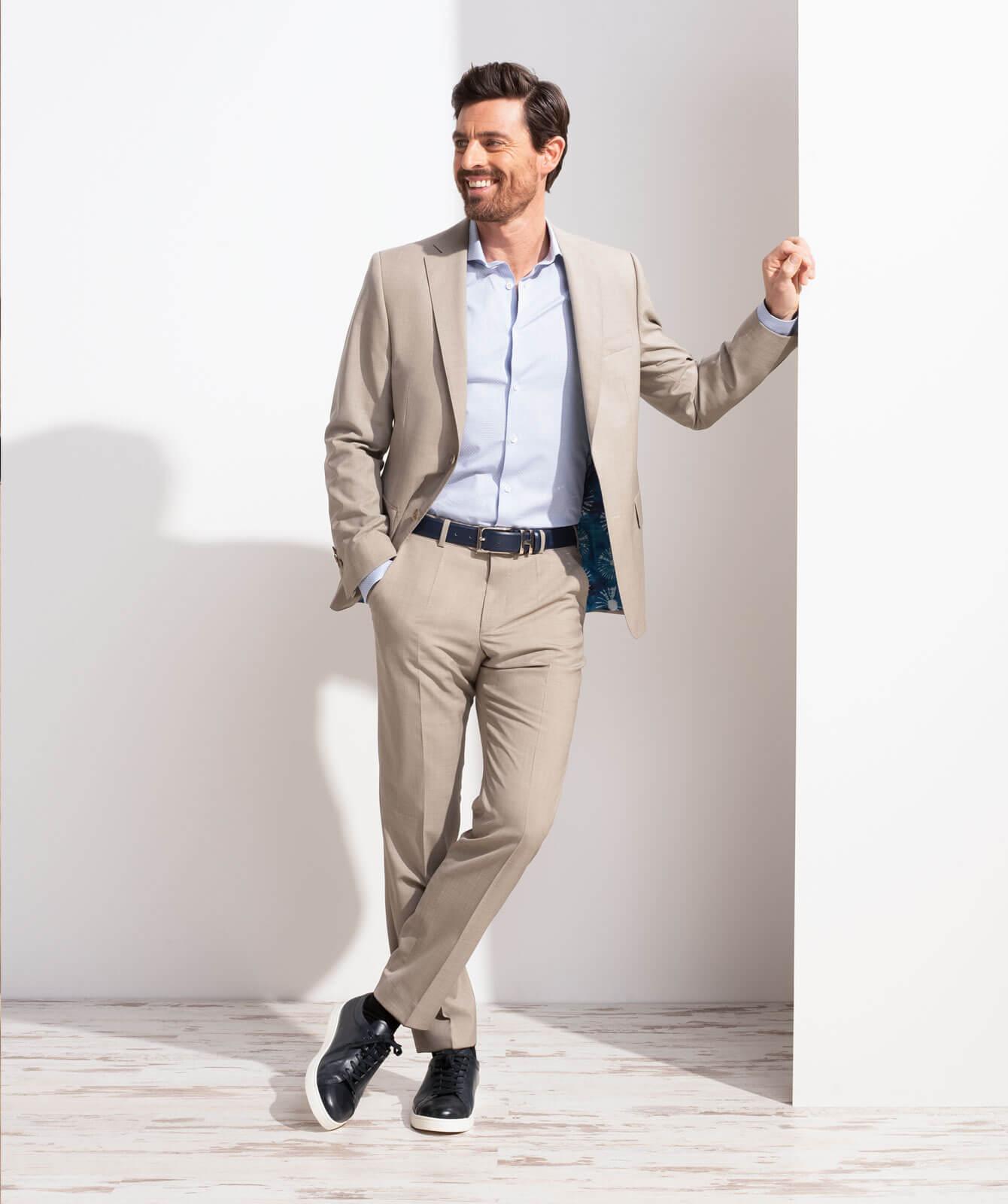 Sandfarbener Cool Wool-Anzug