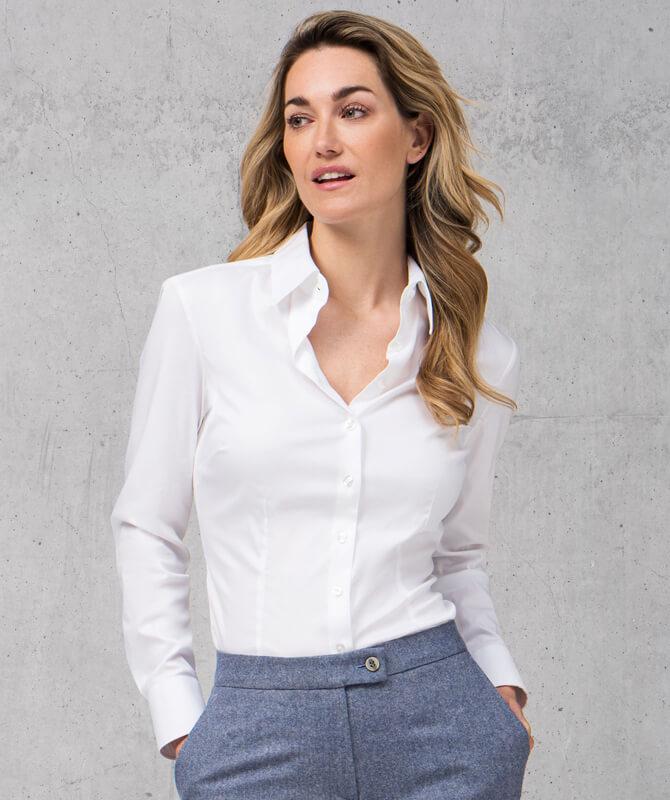 Weiße Komfort-Bluse