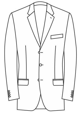 1-Reiher 3-Knopf, Winkelfasson