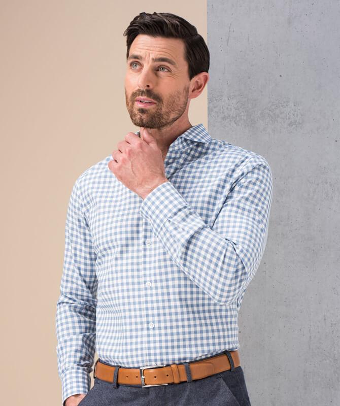 Komfort-Hemd Blau-Weiß
