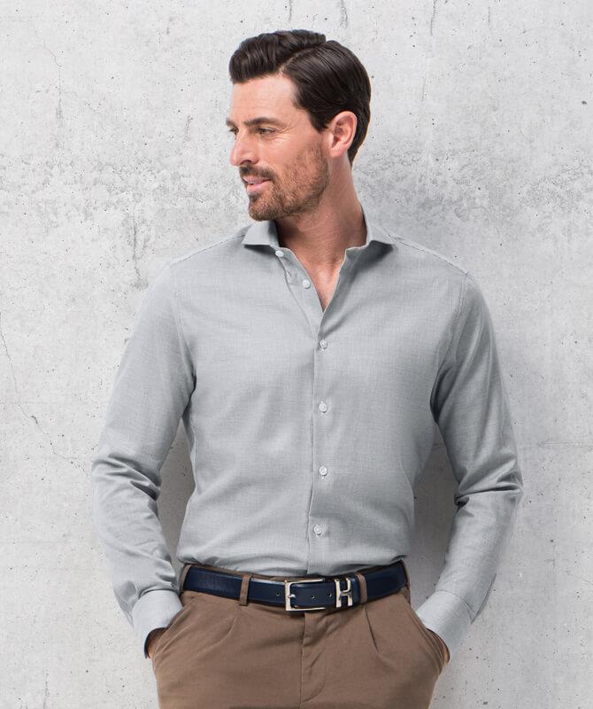 Komfort-Hemd Grau-Weiß