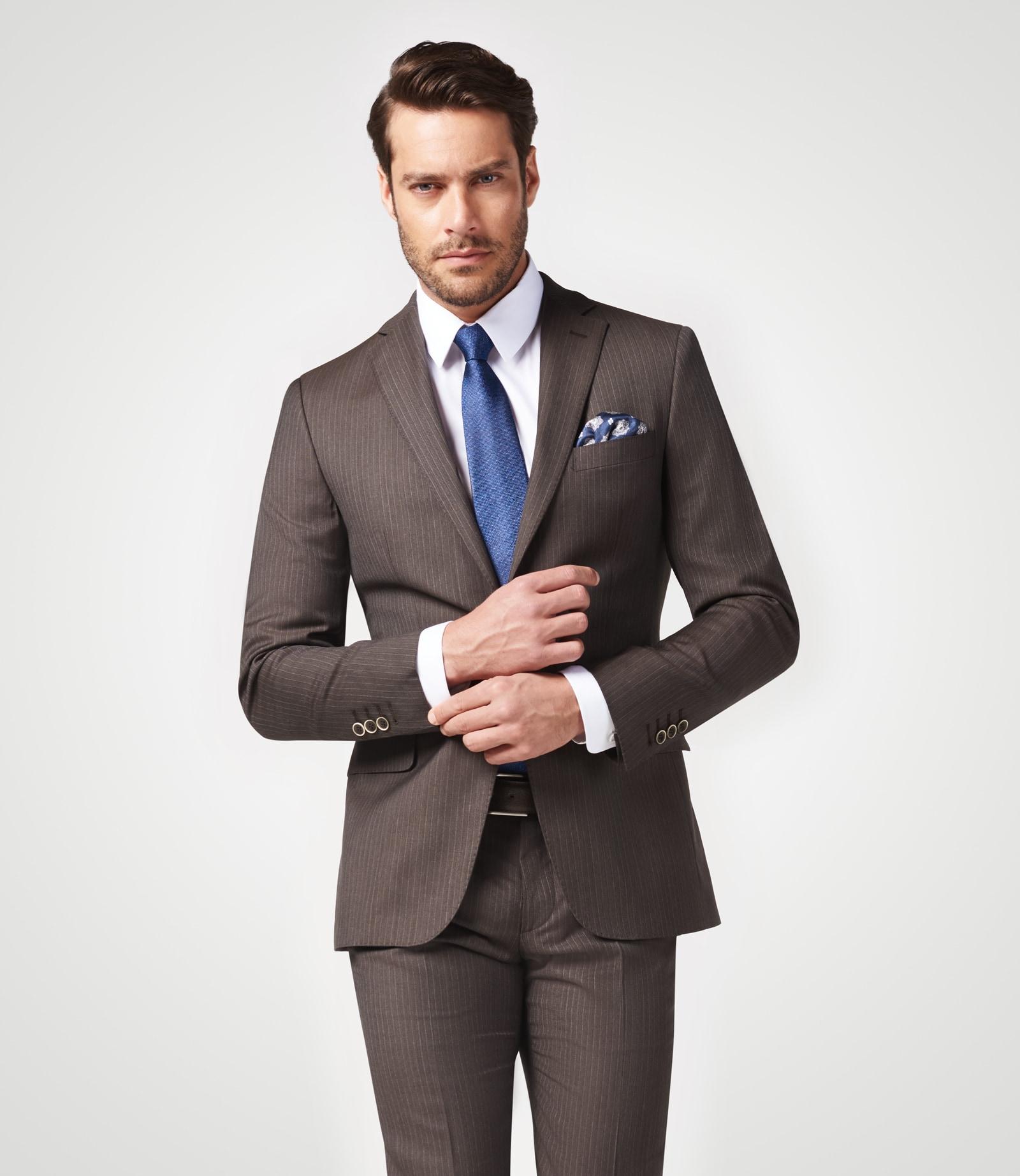 Gestreifter Anzug in Super 140