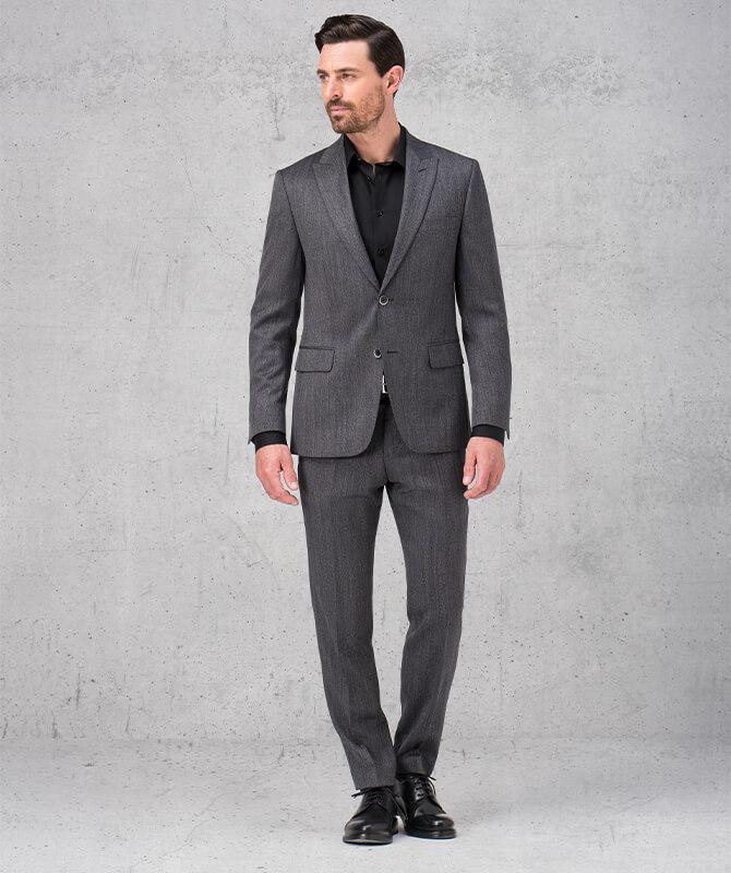 Anthrazitfarbener Double Stretch-Anzug mit Fischgratmuster